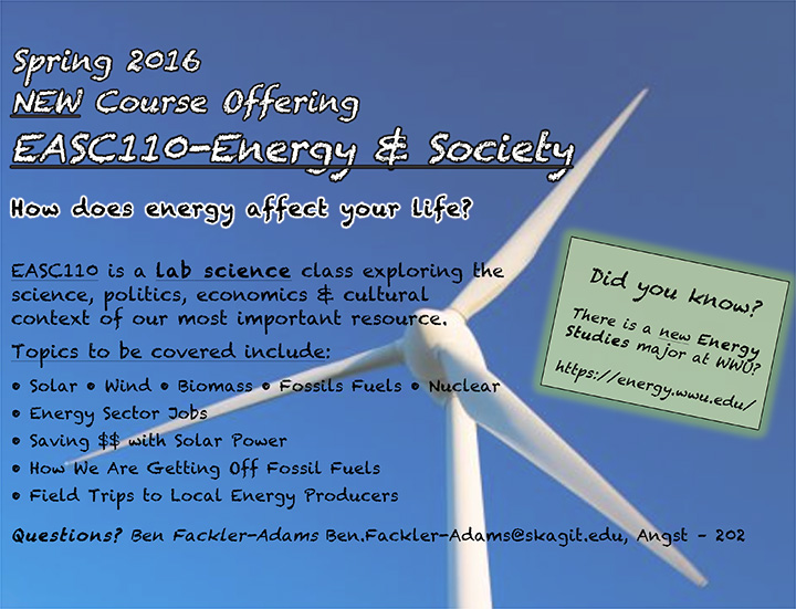 New Course, EASC 110 - Engery and Society