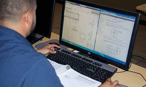 Technical Design student working on design project.