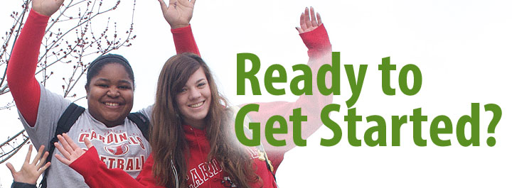 Students with hands in the air, with ready to get started? text.